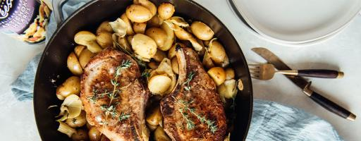 Roasted Pork Chops with New Potatoes and Reese Delicate Baby Artichokes